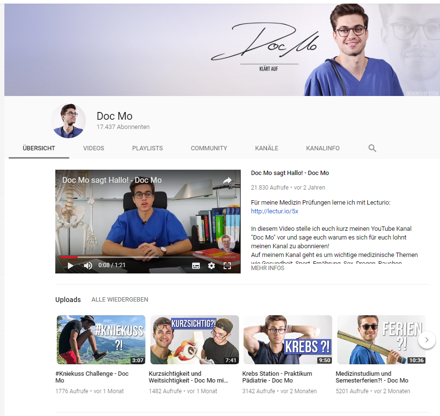 Screenshot Youtubechannel Doctor Mo